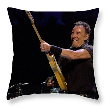 Throw Pillow featuring the photograph Bruce Springsteen In Cleveland by Jeff Ross