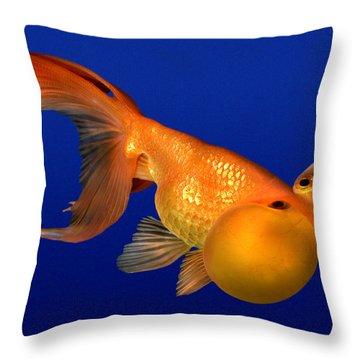 Bubble Eye Goldfish Throw Pillow by Wernher Krutein