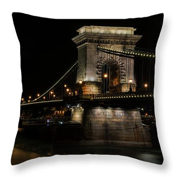 Throw Pillow featuring the photograph Budapest At Night. by Jaroslaw Blaminsky
