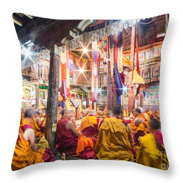 Buddhist Monks Praying In Thiksay Monastery Throw Pillow