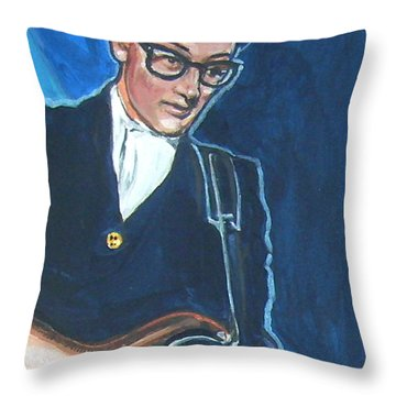 Buddy Holly Throw Pillow by Bryan Bustard