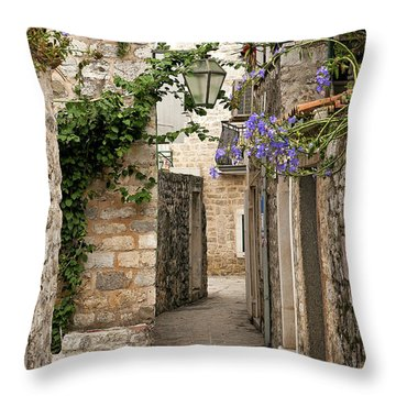 Budva Old Town Cobbled Street In Montenegro Throw Pillow