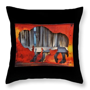 Throw Pillow featuring the photograph Wooden Buffalo 1 by Larry Campbell