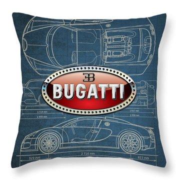 Bugatti 3 D Badge Over Bugatti Veyron Grand Sport Blueprint  Throw Pillow