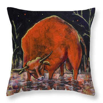 Bull And Paper Boats Throw Pillow