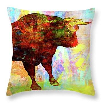 Bull Throw Pillow by Elena Kosvincheva