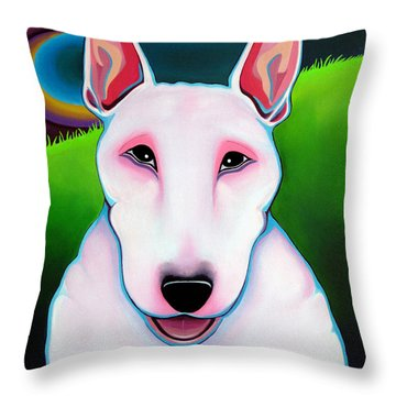 Throw Pillow featuring the painting Bull Terrier by Leanne WILKES
