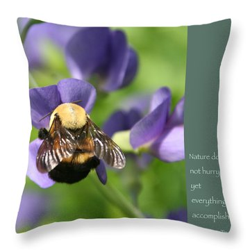 Bumble Bee With Zen Quote Throw Pillow by Heidi Hermes
