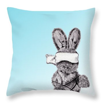 Bunny Bondage Throw Pillow