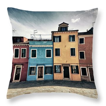 Burano Houses Throw Pillow