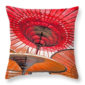 Throw Pillow featuring the photograph Burmese Parasols by Dennis Cox WorldViews