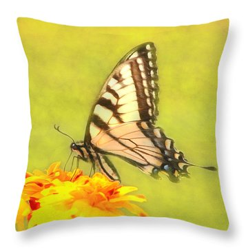 Butterfly Throw Pillow by Marion Johnson