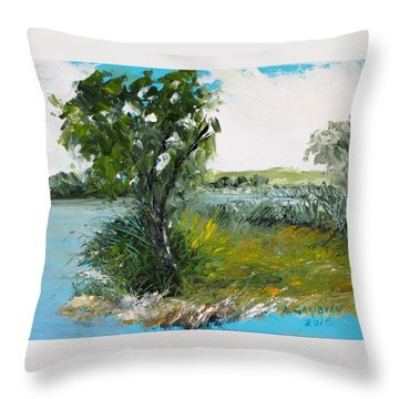 By The Snake River Throw Pillow