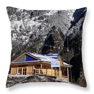 Meeting Point Mountain Restaurant Throw Pillow by Aidan Moran