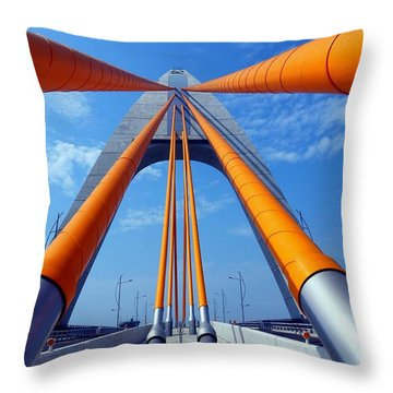 Cable Stayed Bridge With Orange Clad Cables Throw Pillow by Yali Shi