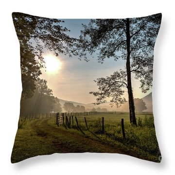 Throw Pillow featuring the photograph Cades Cove Sunrise by Douglas Stucky