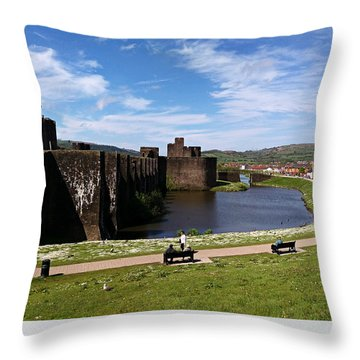 Caerphilly Castle Throw Pillow by Andrew Read