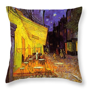 Throw Pillow featuring the painting Cafe Terrace At Night by Van Gogh
