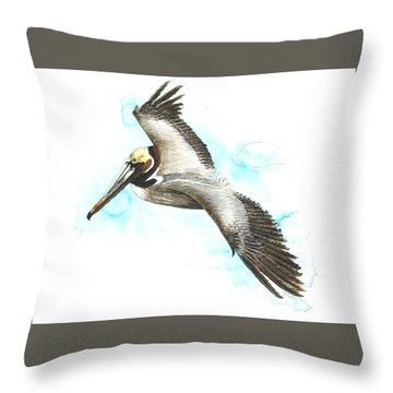 California Brown Pelican Throw Pillow