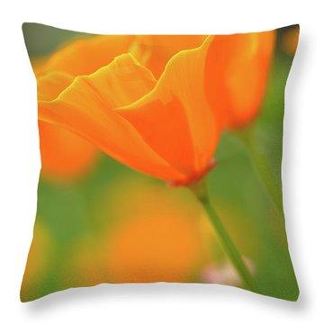 California Spring Poppy Macro Close Up Throw Pillow