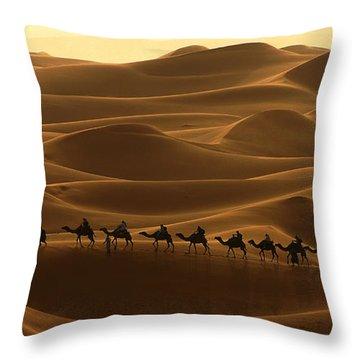 Camel Caravan In The Erg Chebbi Southern Morocco Throw Pillow