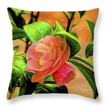 Camellia Candy Throw Pillow