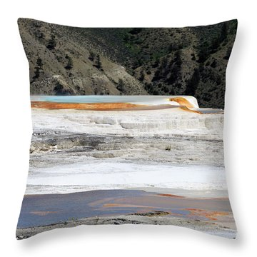 Canary Spring At Mammoth Hot Springs Upper Terraces Throw Pillow by Louise Heusinkveld