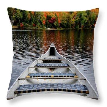 Canoe On A Lake Throw Pillow by Oleksiy Maksymenko
