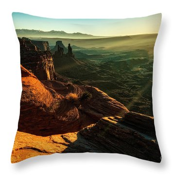 Throw Pillow featuring the photograph Canyon Sunbeams by Kristal Kraft