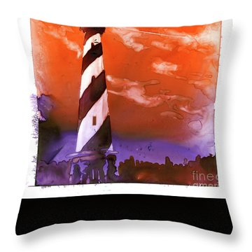 Throw Pillow featuring the painting Cape Hatteras Lighthouse by Ryan Fox