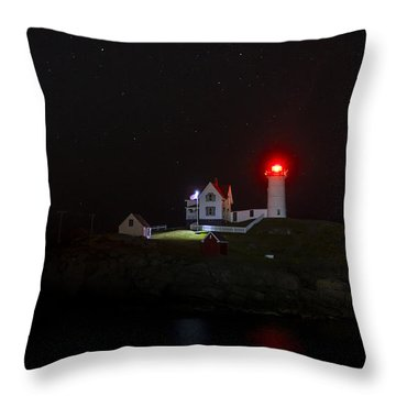 Cape Neddick/nubble Light. York Beach, Maine. Throw Pillow