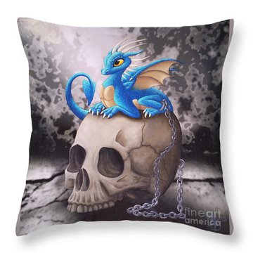 Throw Pillow featuring the painting Captive Dragon On An Old Skull by Mary Hoy