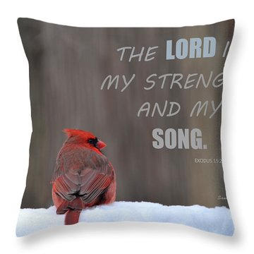 Cardinal In The Snowstorm With Scripture Throw Pillow
