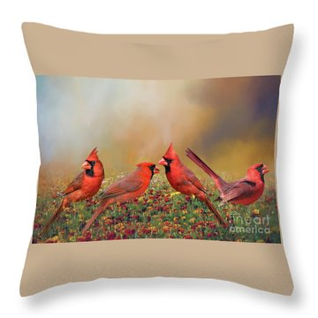 Throw Pillow featuring the photograph Cardinal Quartet by Bonnie Barry