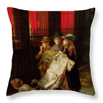 Carol Singers Throw Pillow by Augustus Edward Mulready