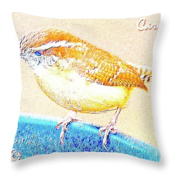 Carolina Wren, Winter Wren On Bird Feeder, Digital Art Throw Pillow