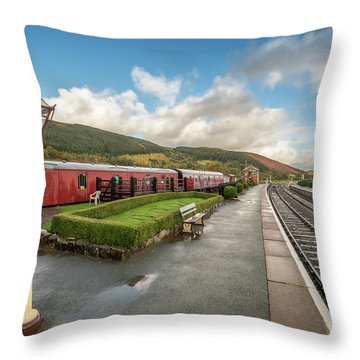 Throw Pillow featuring the photograph Carrog Railway Station by Adrian Evans