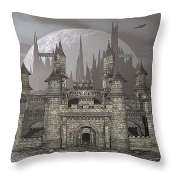 Castle By Night - 3d Render Throw Pillow by Elenarts - Elena Duvernay Digital Art