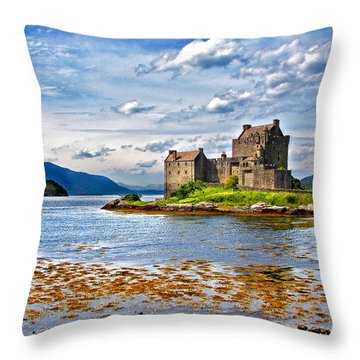Castle In The Loch Throw Pillow