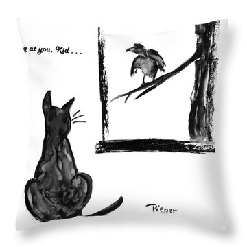 Cat And Bird  Throw Pillow by Betty Pieper