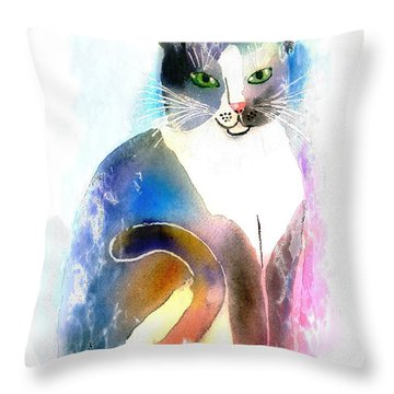 Cat Of Many Colors Throw Pillow by Arline Wagner