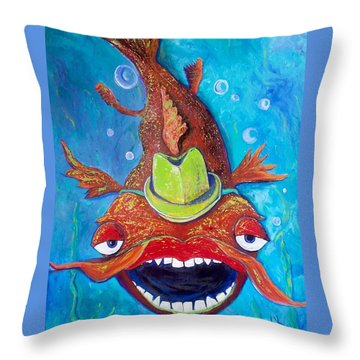 Catfish Clyde Throw Pillow by Vickie Scarlett-Fisher