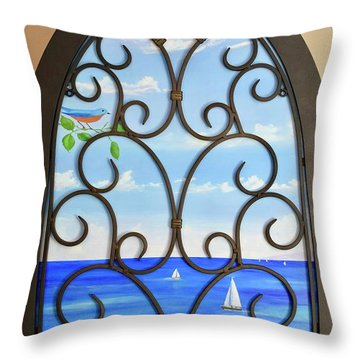 Throw Pillow featuring the painting Cathedral View by Mary Scott