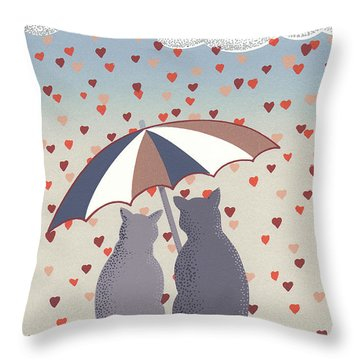 Cats In Love Throw Pillow by Anne Gifford