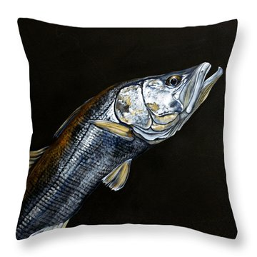 Caught In The Surf Snook Throw Pillow
