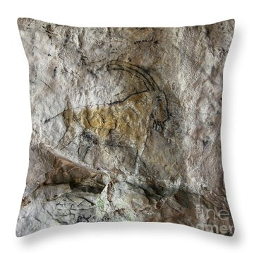 Cave Painting In Prehistoric Style Throw Pillow by Michal Boubin