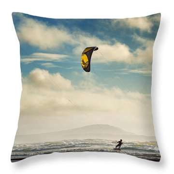 Cefn Sidan Beach 1 Throw Pillow