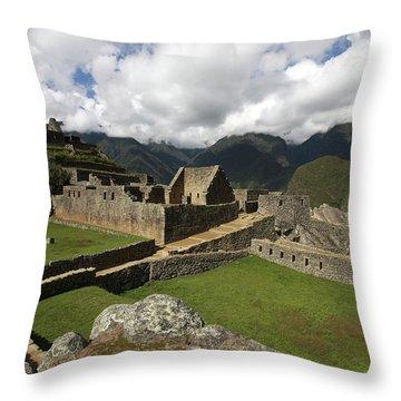 Central Plaza At Machu Picchu Throw Pillow by Aidan Moran