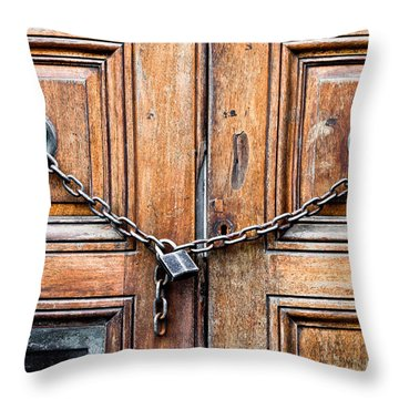 Chained Door Throw Pillow