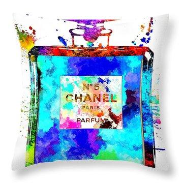Chanel No. 5 Grunge Throw Pillow by Daniel Janda
